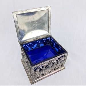 Vintage Silverplate Box w Cobalt Blue Glass Insert